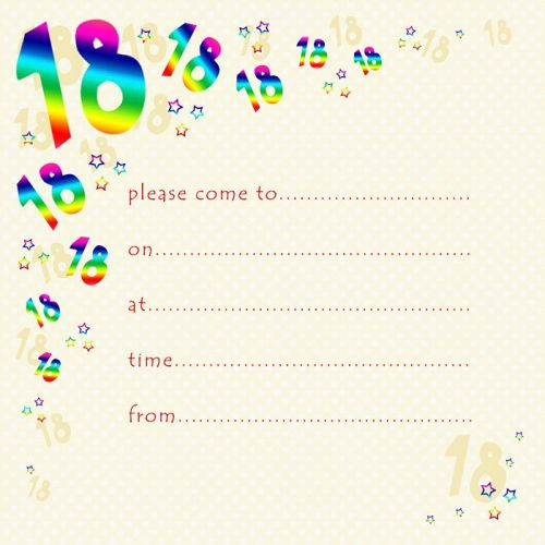 18th Rainbow Foil Birthday Party Invitation Cards 10pk PARTY Invitations