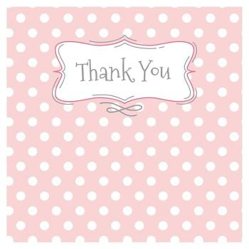 Thank You Cards - PINK Polka Dot THANK You CARDS - 5 FOLDED Cards with ENVELOPES - Pack OF Thank You CARDS - Baby - TEACHER