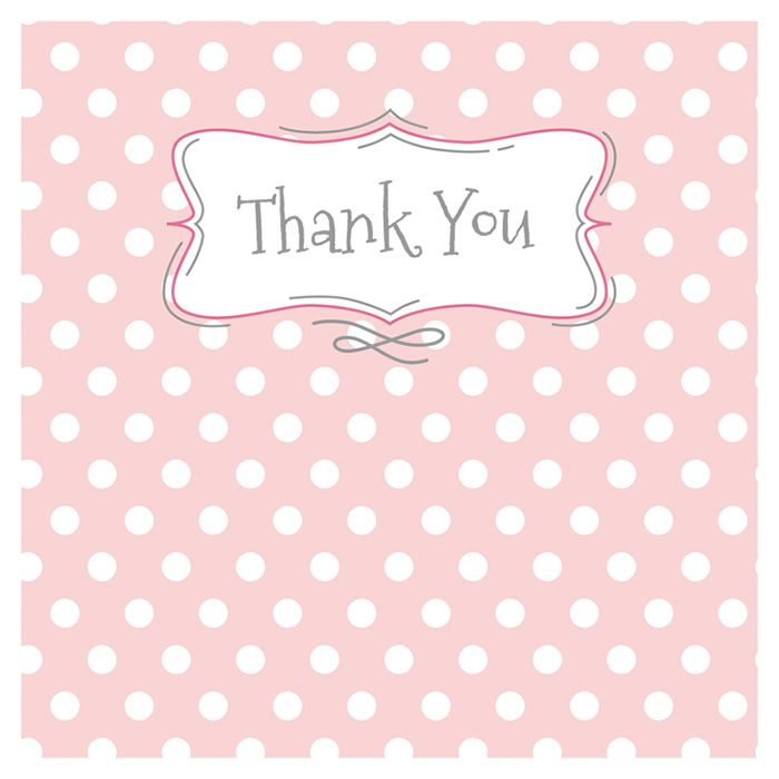 Thank You Cards - PINK Polka Dot THANK You CARDS - 5 FOLDED Cards with ENVE