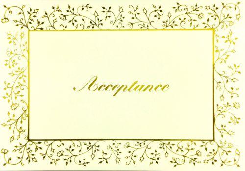 RSVP Acceptance Cards - ACCEPTANCE Cards - PRETTY GOLD Floral Acceptance CA