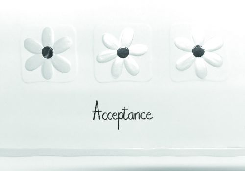 RSVP Acceptance Cards - ACCEPTANCE Cards - PRETTY SILVER Daisy Acceptance C
