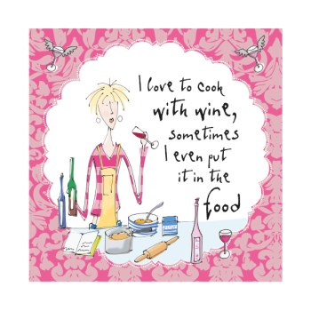 Funny Birthday Card - I LOVE To COOK With WINE - HUMOROUS Birthday GREETING Card - FUNNY Cooking CARD - Birthday Card for MUM - Friend - SISTER