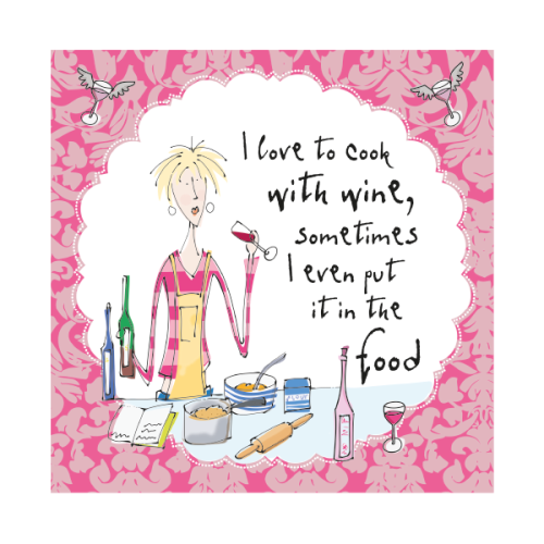 Funny Female Birthday Card Cooking With Wine