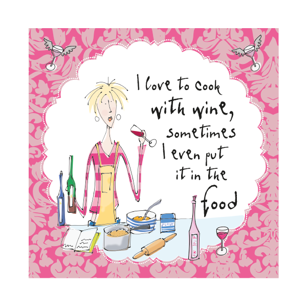 Funny Birthday Card I Love To Cook With Wine Humorous
