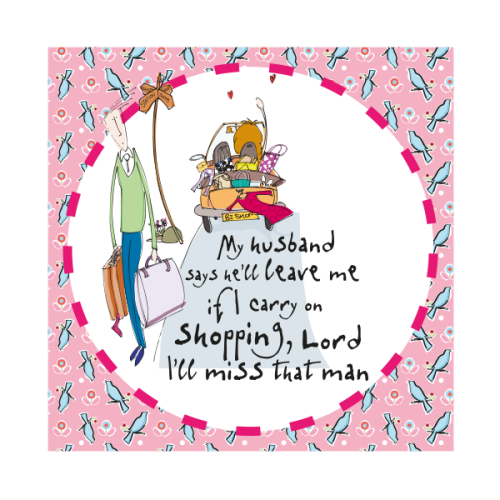 Funny Wife & Husband Birthday Card - MY HUSBAND Says He'll LEAVE Me - HUMOR