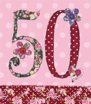 50th Birthday Card Girl - FLORAL Birthday CARD - MILESTONE Birthday - BIRTHDAY Flowers - CARD For DAUGHTER - Mum - SISTER