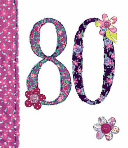 80th Birthday Card Girl - FLORAL Birthday CARD - MILESTONE Birthday - BIRTH