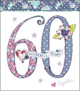 Diamond 60th Wedding Anniversary Cards - 60 WONDERFUL Years - 60th WEDDING Anniversary Card - DIAMOND Anniversary MUM & Dad