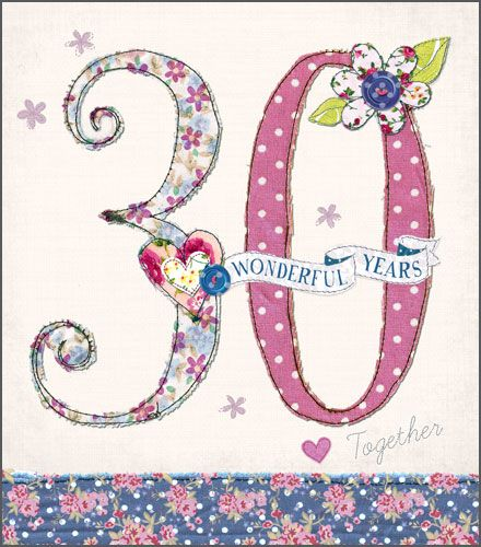 30th Pearl Wedding Anniversary Cards - 30 WONDERFUL Years - 30th ANNIVERSAR