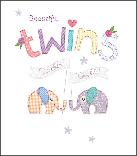 New Twins & Twin Birth Cards - BEAUTIFUL Twins DOUBLE Trouble - Congratulat