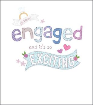 Pretty Engagement Card - You're ENGAGED & It's So EXCITING - Engagement Cards - ENGAGEMENT Congratulations CARD - Pretty HEARTS & Ring ENGAGEMENT Card