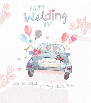Wedding Cards - YOU'RE Beautiful JOURNEY Starts HERE - HAPPY Wedding DAY Card - WEDDING Congratulations CARD - Car WEDDING Card - JUST Married