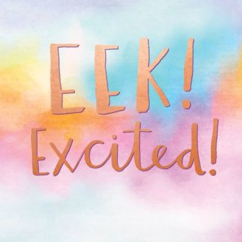 New Baby Cards - EEK EXCITED - Funny NEW Baby CARDS - BABY Girl CARDS - Baby Boy CARDS - MODERN New BABY Card - NEWBORN Baby GREETING Card