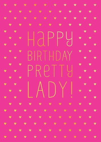 Birthday Cards For Girls - PINK & Gold FOIL Card - HAPPY Birthday PRETTY La