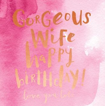 Birthday Cards For Wife - HAPPY Birthday WIFE Card - LOVE You LOTS - Romantic BIRTHDAY Card FOR Wife - PRETTY Pink Wife BIRTHDAY Card