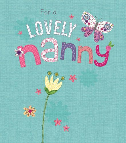 Birthday Card for Nanny - FOR A Lovely NANNY - Sparkly BIRTHDAY Greeting CA