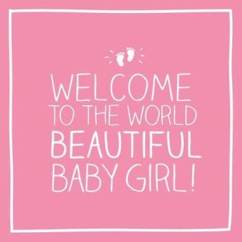 New Baby Girl Cards - WELCOME To The WORLD BEAUTIFUL Baby GIRL - Baby GIRL Cards - MODERN New BABY Card - NEWBORN Baby GIRL Cards
