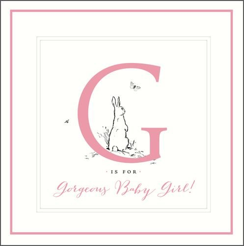 New Baby Girl Cards - G Is For GORGEOUS Baby GIRL - New BABY Girl WISHES -