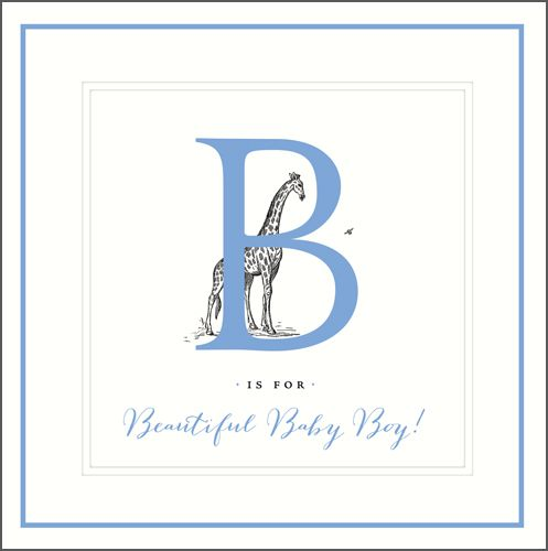 New Baby Boy Cards - B IS FOR Beautiful Baby BOY - New Baby CARDS - Baby BO