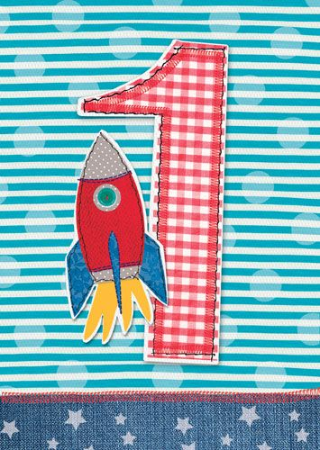 1st Birthday Card Boy - ROCKET 1st BIRTHDAY Card SON - SON - Nephew - GRAND