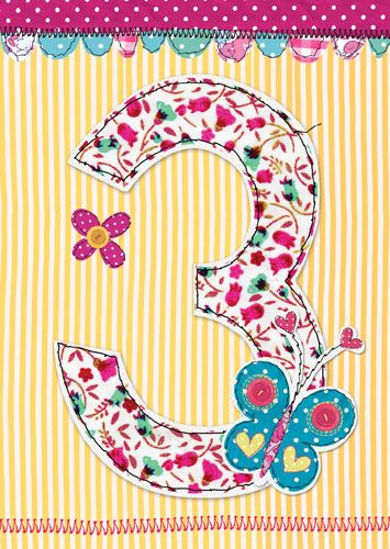 3rd Birthday Card Girl - THREE YEAR Old - AGE 3 - Children's BIRTHDAY Card