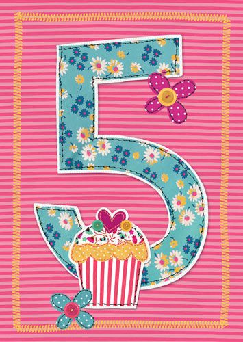 5th Birthday Card Girl - BIRTHDAY Card For LITTLE Girl - CUPCAKE Children's