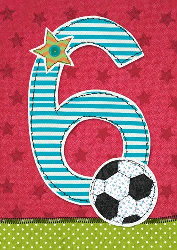 6th Birthday Card Boy - FOOTBALL Birthday CARD - Football BIRTHDAY Card For