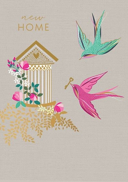 New Home Cards - New HOME - HOUSEWARMING Card - Bird CAGE A NEW Home CARD -
