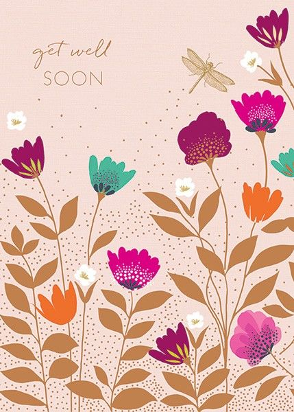 Luxury Get Well Soon Card - DRAGONFLY Get WELL CARD - Get Well FLOWERS - PR