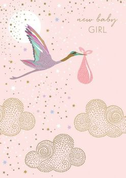 New Baby Girl Cards - NEW Baby GIRL - Baby GIRL Cards - BEAUTIFUL Gold FOIL New BABY Girl Card - Baby Girl WISHES - Clouds & STORK Card