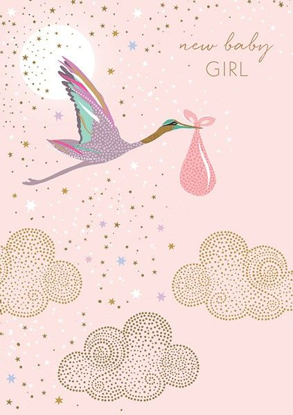 New Baby Girl Cards - NEW Baby GIRL - Baby GIRL Cards - BEAUTIFUL Gold FOIL