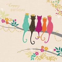 Cat Birthday Card - HAPPY Birthday - CAT Lovers Birthday Card - FRIENDS Birthday CARD - BIRTHDAY Wishes For BESTIE - Cat CARD For SISTER - REGAL Cats