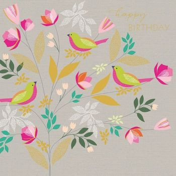 Bird Birthday Card - HAPPY BIRTHDAY - Birds & BLOSSOM Birthday CARD - BIRTHDAY Greeting CARD - Pretty CARD for MUM - Daughter - SISTER - Gran - Aunty