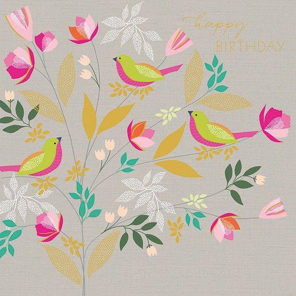 Bird Birthday Card - HAPPY BIRTHDAY - Birds & BLOSSOM Birthday CARD - BIRTH