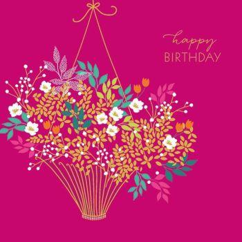 Female Birthday Card - FLOWERS - Floral BIRTHDAY Card - HAPPY BIRTHDAY - Flower BASKET Card - BIRTHDAY Card for MUM - Gran - NAN - AUNTY - Wife