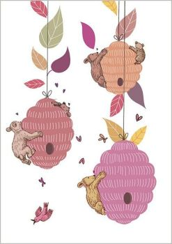 Pretty Bears & Bees Greeting Card - CUTE Greeting CARD - Thinking Of YOU - FRIENDSHIP Card - MISS You Greeting CARD - NEW Home GREETING Card