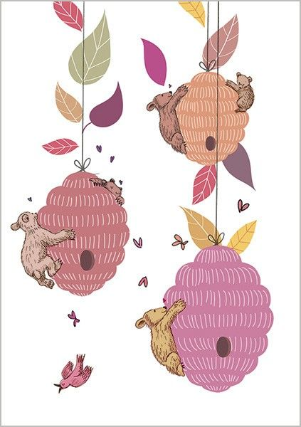 Pretty Bears & Bees Greeting Card - CUTE Greeting CARD - Thinking Of YOU -