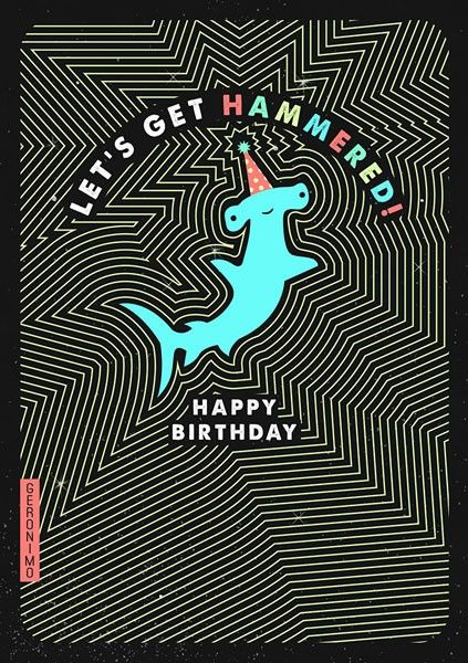 Funny Male Drinker Birthday Card - LET'S GET HAMMERED - MALE Birthday