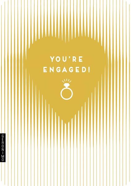 Engagement Cards - YOU'RE ENGAGED - GOLD Foil HEART Engagement Card - ENGAG