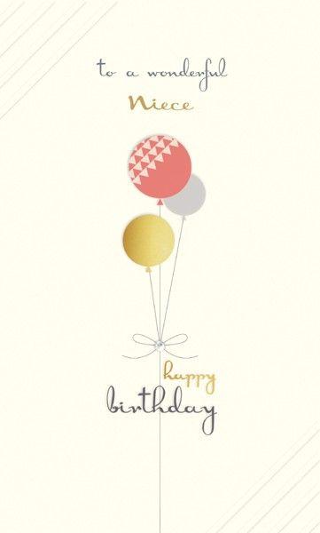 Birthday Cards For Niece - TO A Wonderful NIECE - Happy BIRTHDAY Niece - BI