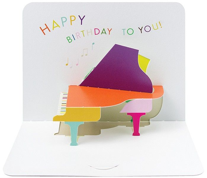 Pop Up Piano Birthday Card - HAPPY Birthday TO YOU - Music Themed CARD - Pi