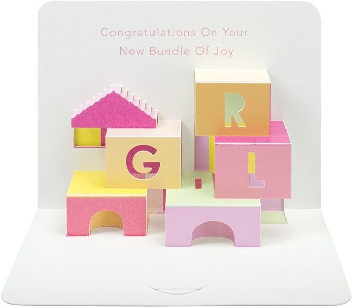 New Baby Pop Up Card - NEW Bundle Of JOY - Pop UP Baby GIRL Card - NEW Baby