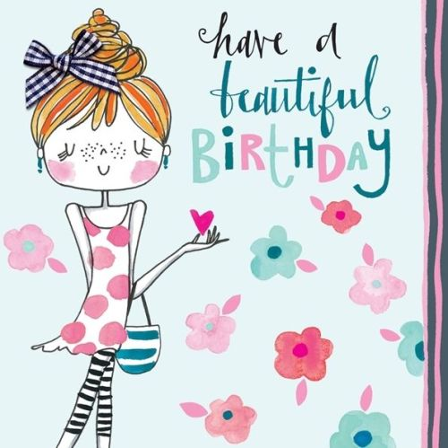 Children's Girly Birthday Card - HAVE A BEAUTIFUL BIRTHDAY - Hand Painted