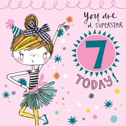 7th Birthday Card For Girl Dancer Hand Painted Childrens Card
