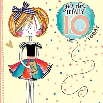 10th Birthday Card Girl - YOU Are TOTALLY 10 Today - Little MISS Sassy BIRTHDAY Card - Children's Birthday Card - DAUGHTER - GRANDDAUGHTER
