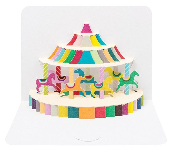 Pop Up Greeting Card - Merry Go ROUND Birthday Card -  3D POP Up Birthday C