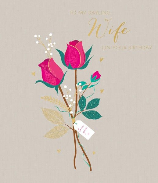 Birthday Card Wife - To MY DARLING Wife - WIFE Birthday CARDS - RED Rose WI