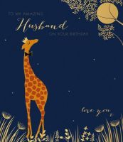 Husband Birthday Cards - LOVE YOU - Giraffe BIRTHDAY Cards - Large BIRTHDAY Card - AMAZING Husband BIRTHDAY Card - HUSBAND Cards