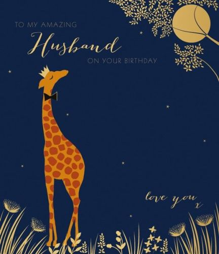 Husband Birthday Cards - LOVE YOU - Giraffe BIRTHDAY Cards - Large BIRTHDAY