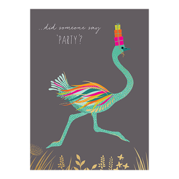 Birthday Card - Humorous BIRTHDAY Card - DID Someone SAY Party - EMU Card - FUNNY Birthday Card - PARTY Girl Birthday CARD - BIRTHDAY Card For FRIEND